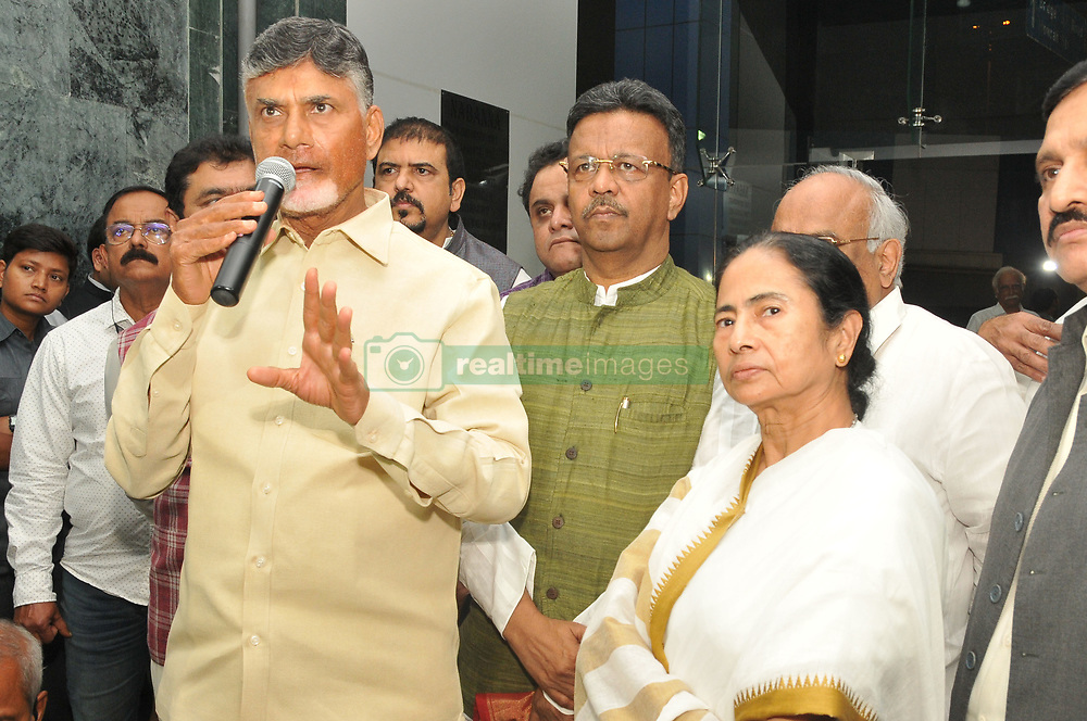 """November 19, 2018 - Kolkata, India - Andhra Pradesh Chief Minister Chandrababu Naidu today meet to  West Bengal Chief Minister  Mamata Banerjee and after the meeting  jointly press conferences,The November 22 meeting will focus on the form and structure of the proposed anti-Bharatiya Janata Party (BJP) forum and a course of action to take forward the initiative further. Besides, a plan of action will be drafted to fight the Narendra Modi government over its alleged anti-people policies such as the use of official agencies like the Central Bureau of Investigation (CBI) and income tax department to settle scores with political rivals, dismantling of institutions and the """"ill-effects"""" of the note ban.Naidu has met leaders from a wide spectrum of opposition parties including Rahul Gandhi, Bahujan Samaj Party president Mayawati, Samajwadi Party chief Akhilesh Yadav and his father and party patriarch Mulayam Singh Yadav, Delhi chief minister and Aam Aadmi Party chief Arvind Kejriwal, Nationalist Congress Party president Sharad Pawar, National Conference chief Farooq Abdullah, Dravida Munnetra Kazhgam (DMK) leader MK Stalin and leaders of the Communist Party of India and Communist Party of India (Marxist).  At the State Secretariat Office Nabanna on November 19,2018 in Kolkata,India. (Credit Image: © Debajyoti Chakraborty/NurPhoto via ZUMA Press)"""