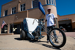 Custom bike builder and event organizer JP Rodman with his custom Harley-Davidson Panhead trike during his Run to Raton. Raton, NM. USA. Sunday July 22, 2018. Photography ©2018 Michael Lichter.