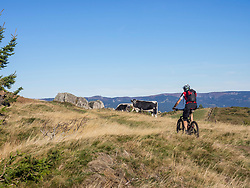 Man riding electric mountain bike on cycling tour in the Vosges, France