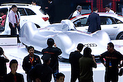 Audi automaker displays its cars during Shanghai Motor Show, in Shanghai, China, on April 20, 2009. Shanghai auto show opened Monday for the press and will be open April 24-28 for the public. China is the only major auto market still growing despite the global economic slowdown. U.S. and global auto makers see China as the place where they can find the sales they desperately lack in their home market. Chinese automakers see the opportunity to assess themselves as major players in the world market. Photo by Lucas Schifres/Pictobank