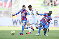 Nicolas BENEZET / Nabil FEKIR / Ngolo KANTE - 09.05.2015 -  Caen / Lyon  - 36eme journee de Ligue 1<br />