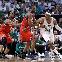 26 May 2012: Boston Celtics small forward Paul Pierce (34) drives past Philadelphia Sixers forward Thaddeus Young (21) during the Boston Celtics 85-75 victory over the Philadelphia Sixer, in Game 7 of the Eastern Conference semifinals playoff series, at the TD Banknorth Garden, Boston, Massachusetts, USA.