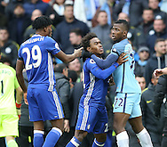 Kelechi Iheanacho of Manchester City is held back from confronting Nathaniel Chalobah of Chelsea during the Premier League match at the Etihad Stadium, Manchester. Picture date: December 3rd, 2016. Pic Simon Bellis/Sportimage