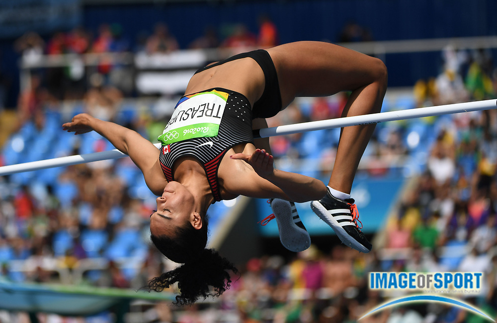 Aug 18, 2016; Rio de Janeiro, Brazil; Alyxandria Treasure (CAN) during the women's high jump qualifying in the Rio 2016 Summer Olympic Games at Estadio Olimpico Joao Havelange.