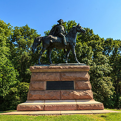 Valley Forge, PA, USA - June 23. 2012:  Statue of Wayne at Valley Forge, facing toward his home in nearby Paoli, Pennsylvania