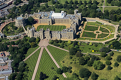 © Licensed to London News Pictures. 16/07/2021. Windsor, Berkshire. UK. An aerial view of Windsor Castle seen from an aircraft landing at London Heathrow Airport. Photo credit: Dinendra Haria/LNP