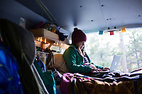 Working while van camping on the road.