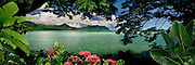 """Panoramic window to paradise on Kaneohe Bay on the island of Oahu, Hawaii. Canvas Giclee 14""""x50"""" Limited Edition of 350."""
