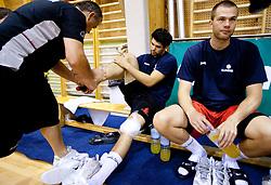 Teo Djekic, Saso Ozbolt and Uros Slokar during practice session of Slovenian National Basketball team during training camp for Eurobasket Lithuania 2011, on July 12, 2011, in Arena Vitranc, Kranjska Gora, Slovenia. (Photo by Vid Ponikvar / Sportida)