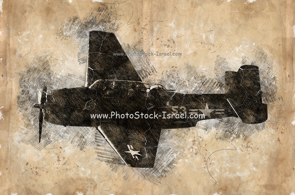 Digitally enhanced image of a side view of a North American Aviation P-51 Mustang USAF Fighter Plane