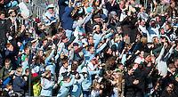 BLOEMENDAAL - Supporters aanhang van UHC tijdens en na de finale van de EHL tussen de mannen van Oranje Zwart en UHC Hamburg . OZ wint na shoot outs. COPYRIGHT KOEN SUYK