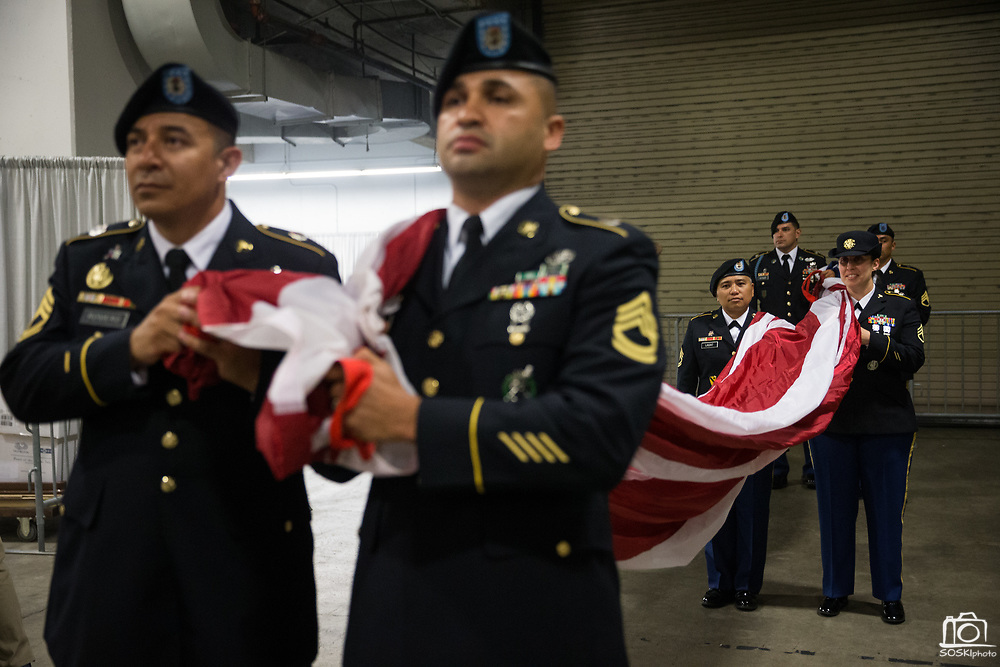 Members of the United States Army carry the American Flag in the tunnel before Game 1 of the Western Conference Semifinals between Golden State Warriors and Utah Jazz at Oracle Arena in Oakland, Calif., on May 2, 2017. (Stan Olszewski/Special to S.F. Examiner)