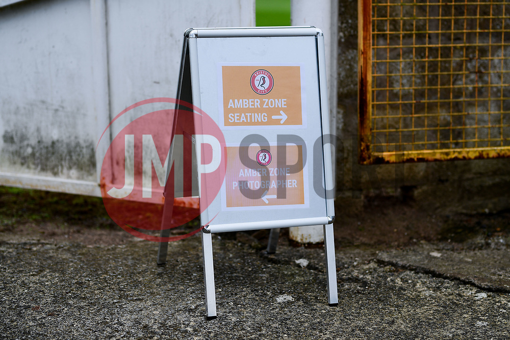 General views of the Amber Zone signage prior to kick off - Mandatory by-line: Ryan Hiscott/JMP - 06/09/2020 - FOOTBALL - Twerton Park - Bath, England - Bristol City Women v Everton Ladies - FA Women's Super League