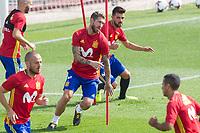Sergio Ramos and David Villa during the training of the spanish national football team in the city of football of Las Rozas in Madrid, Spain. August 28, 2017. (ALTERPHOTOS/Rodrigo Jimenez)