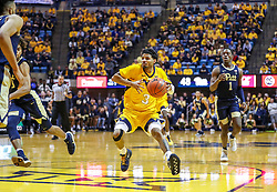 Dec 8, 2018; Morgantown, WV, USA; West Virginia Mountaineers guard James Bolden (3) drives down the lane during the second half against the Pittsburgh Panthers at WVU Coliseum. Mandatory Credit: Ben Queen-USA TODAY Sports