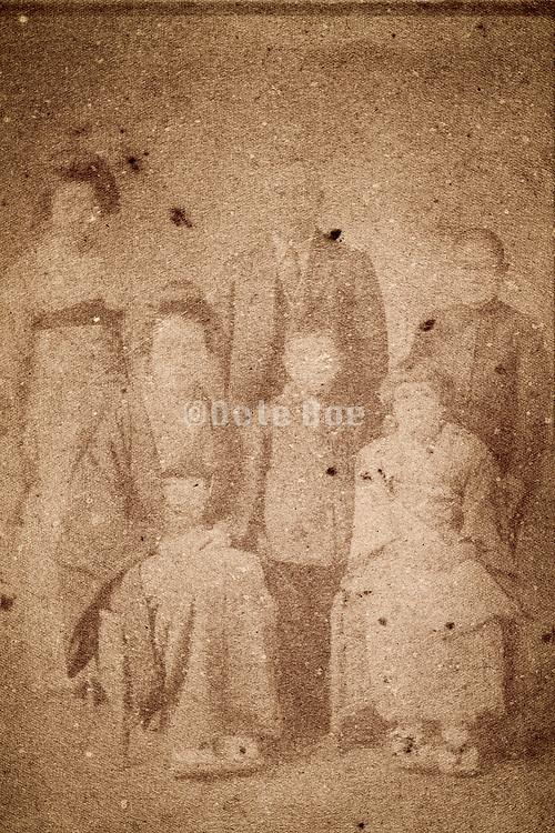 deteriorating family group portrait Japan 1932