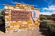 Park entrance sign, Hovenweep National Monument, Utah USA