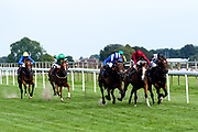 Execlusive ridden by Adam McNamara and Trained by Archie Watson, Airbrush ridden by Oison Murphy trained by Richard Hannon, Aryaaf ridden by Jim Crowley trained by Simon Crisford, Call Me Cheers ridden by Robert Winston trained by David Evans, Prissy Missy ridden by David Egan trained by David Loughnane, Walton Thorns ridden by Martin Dwyer trained by Charles Hill in the Nursery Handicap - Mandatory by-line: Robbie Stephenson/JMP - 27/08/2019 - PR - Bath Racecourse - Bath, England - Race Meeting at Bath Racecourse