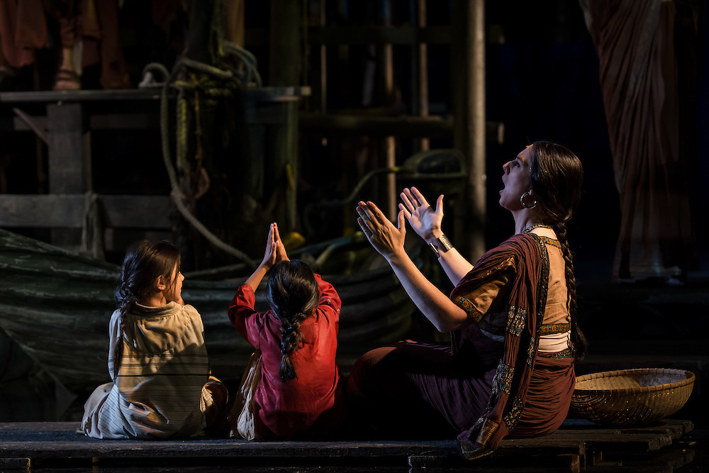 """LONDON, UK, 17 October, 2016. Members of the cast rehearse for the revival of director Penny Woolcock's production of Bizet's opera """"The Pearl Fishers"""" at the London Coliseum for the English National Opera.  The production opens on 19 October."""