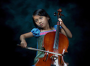 A year later and at five years old Amelie practices her cello before her third recital at Levine School of Music in Northwest Washington, DC.