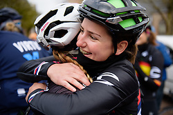 Jelena Eric catches up with old friends at Drentse 8 van Westerveld 2018 - a 142 km road race on March 9, 2018, in Dwingeloo, Netherlands. (Photo by Sean Robinson/Velofocus.com)