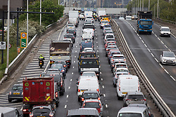© Licensed to London News Pictures. 17/05/2021. London, UK. Traffic builds up on the A102 in Greenwich south east London. From today six people or two households will be allowed to meet indoors and pubs and restaurants will be able to serve customers indoors following the easing of lockdown restrictions.   Photo credit: George Cracknell Wright/LNP
