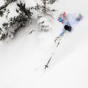 Keely Kelleher skiing blower powder in the Tetons.