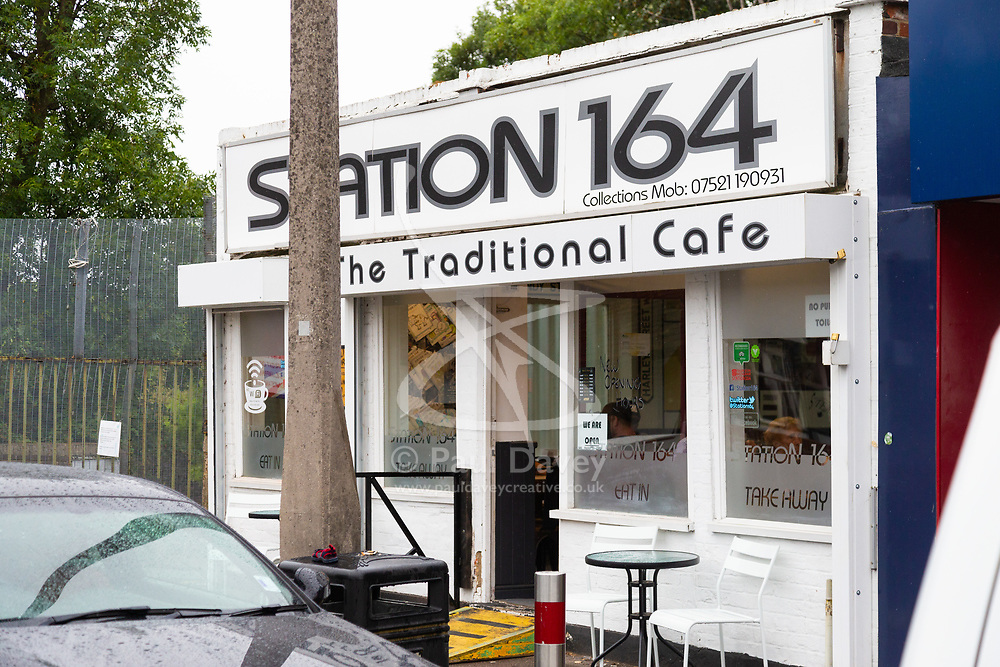 The Station 164 cafe adjacent to Hornchuch station in Essex that has been branded 'racist' after placing miniature Union Jack flags on their Full English Breakfasts, a report about which in the local press has caused the wonder to take down all her social media following a barrage of abuse. Hornchurch, Essex, August 09 2018.