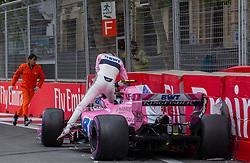 April 29, 2018 - Baku, Azerbaijan - Esteban Ocon of France and Sahara Force India driver's crash during the race at Azerbaijan Formula 1 Grand Prix on Apr 29, 2018 in Baku, Azerbaijan. (Credit Image: © Robert Szaniszlo/NurPhoto via ZUMA Press)