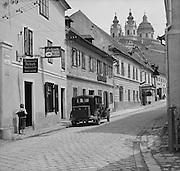 City Street with Austin Car, Melk, Austria, circa 1933