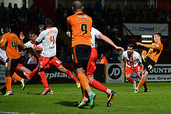 Wolves midfielder Lee Evans takes a shot at goal  - Photo mandatory by-line: Mitchell Gunn/JMP - Tel: Mobile: 07966 386802 01/04/2014 - SPORT - FOOTBALL - Broadhall Way - Stevenage - Stevenage v Wolverhampton Wanderers - League One