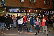 rugby fans soak up the atmosphere ahead of the game. Guinness Pro14 rugby match, Cardiff Blues v Dragons at the Cardiff Arms Park in Cardiff, South Wales on Friday 6th October 2017.<br /> pic by Andrew Orchard, Andrew Orchard sports photography.