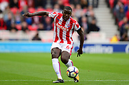 Kurt Zouma of Stoke city in action. Premier league match, Stoke City v Arsenal at the Bet365 Stadium in Stoke on Trent, Staffs on Saturday 19th August 2017.<br /> pic by Bradley Collyer, Andrew Orchard sports photography.