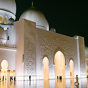 Early evening light at the famous Sheikh Zayed Grand Mosque.