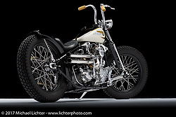 """""""Plan B"""", a 1947 knucklehead bobber built by Bryan Lane of Waxhaw, NC. Photographed by Michael Lichter during the Easyriders Bike Show in Columbus, OH on February 9, 2017. ©2017 Michael Lichter."""