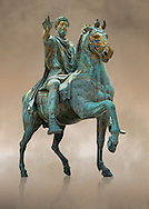 Original Roman bronze statue of Emperor Marcus Aurelius on horseback. 175 AD. Marcus Aurelus was the last of the Five Good Emperors, and is also considered one of the most important Stoic philosophers. In 1979 it was discovered that the the equestrian statue of Marcus Aurelius, in the courtyard of the Capitline Museum, had suffered badly from corrosion, particularly in its legs. The staue was removed from Michael Angelo's plinth and was transferred to the National Instution for the Restoration of works of art for preservation. On the 11th of April 1990 the restored statue was returned to the Cpitaline courtyard and covered with a glass protective casing. The glass box ruined the design of Michael Angelo's courtyard and it was decided to make a copy to display in the courted and move the original into the Capitoiline Musuem. This is a rare example of a bronze equestrian statue as it became common practice for the Romans in the late empire to melt down bronze statues to mint coins. The Capitoline Museums, Rome ...<br /> <br /> If you prefer to buy from our ALAMY STOCK LIBRARY page at https://www.alamy.com/portfolio/paul-williams-funkystock/greco-roman-sculptures.html . Type -    Capitoline    - into LOWER SEARCH WITHIN GALLERY box - Refine search by adding a subject, place, background colour, etc.<br /> <br /> Visit our ROMAN WORLD PHOTO COLLECTIONS for more photos to download or buy as wall art prints https://funkystock.photoshelter.com/gallery-collection/The-Romans-Art-Artefacts-Antiquities-Historic-Sites-Pictures-Images/C0000r2uLJJo9_s0