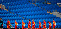 CARDIFF, WALES - Sunday, September 6, 2020: Wales players line-up for the national anthems in front of empty seats before the UEFA Nations League Group Stage League B Group 4 match between Wales and Bulgaria at the Cardiff City Stadium. (Pic by David Rawcliffe/Propaganda)
