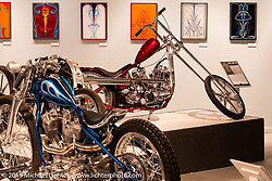 Oliver Jones 1937/40 UL/EL custom Harley-Davidsonon display in the What's the Skinny Exhibition (2019 iteration of the Motorcycles as Art annual series) at the Sturgis Buffalo Chip during the Sturgis Black Hills Motorcycle Rally. SD, USA. Friday, August 9, 2019. Photography ©2019 Michael Lichter.