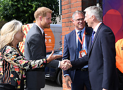 The Duke of Sussex arrives to attend the opening match of the 2019 ICC Cricket World Cup between England and South Africa at The Oval in London.