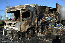 South Africa - Cape Town - 08 July 2020 -  The N1 was closed in the direction of Paarl after two trucks were set alight around 1.45am on Wednesday, with motorists advised to make use of alternative routes. Both the N7 and N1 were affected by protests yesterday after a nationwide call for truck drivers to stop operating to protest the employment of foreign national drivers. The truck drivers also threatened to shut down the whole country. The truck drivers claim South African companies choose to employ foreign nationals for lower wages, who they claim make up about 90% of the workforce. All Truck Drivers Forum spokesperson Michael Masimini says employers are contravening the Employment Services and Immigrant Act while thousands of South Africans have no work. Picture: Henk Kruger/African News Agency(ANA)