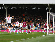 Ryan Sessegnon of Fulham scores against Aston Villa during the Sky Bet Championship match at Craven Cottage, London<br /> Picture by Richard Brooks/Focus Images Ltd 07947656233<br /> 17/04/2017