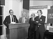Typist Of The Year.1983.17.11.1983.11.17.1983.17th november 1983..Ms Paula Sommers won the award of Typist Of The Year which was jointly sponsored by The Irish Times and B & I Lines..Photo of Mr David Dillon,Corporate Planner I.D.L.Group,addressing the assembled audience.Included are Mr Eddie Kelly,Dept of Education,Mr Peter Coffey,B&I Lines and Mr Des Bury,Irish Times..