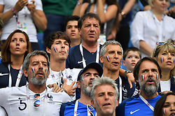 Michel Cymes, Dylan Deschamps, Bruno Solo, Nagui and Melanie Page during the FIFA World Cup 2018 Round of 8 match at the Nizhny Novgorod Stadium Russia, on July 6, 2018. . Photo by Christian Liewig/ABACAPRESS.COM