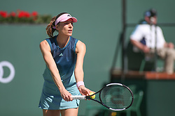 March 7, 2019 - Indian Wells, CA, U.S. - INDIAN WELLS, CA - MARCH 07: Andrea Petkovic (GER) serves during the BNP Paribas Open on March 7, 2019 at Indian Wells Tennis Garden in Indian Wells, CA. (Photo by George Walker/Icon Sportswire) (Credit Image: © George Walker/Icon SMI via ZUMA Press)