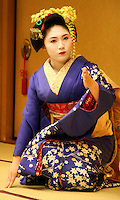 """Geisha, or geiko as they are called in Kyoto, are traditionally entertainers whose skills include performing various Japanese arts such as classical music and dance. Apprentice geisha are called maiko literally """"dance child"""". It is the maiko with her white make-up and elaborate kimono and hairstyle, that has become the stereotype of a geisha to Westerners."""