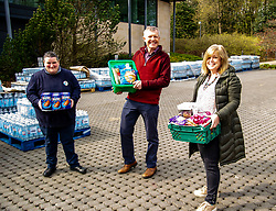 Pictured: <br />Scottish Liberal Democrat Leader Willie Rennie took the opportunity of visiting a food bank at Gogarburn Conference Centre to outline his party's plans for adult social care. Mr Rennie met Lynn Gilchrist, Tesco store manager of the Haymarket branch and Sheena Hales, RBS programme manager and lead of the foodbank who co-ordinate the food for distribution to food banks across the city.<br /><br />Ger Harley | EEm 20 April 2021