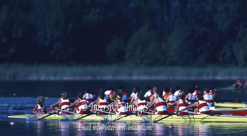 Banyoles, SPAIN, Canadian Women's Eight. Gold Medalist; Kirsten BARNES , Shannon CRAWFORD , Megan DELEHANTY , Kathleen HEDDLE , Marnie McBEAN , Jessica Jessie MONROE , Brenda TAYLOR , Kay WORTHINGTON , Lesley THOMPSON - WILLIE (c) awards dock and  competing in the 1992 Olympic Regatta, Lake Banyoles, Barcelona, SPAIN.   [Mandatory Credit: Peter Spurrier: Intersport Images]