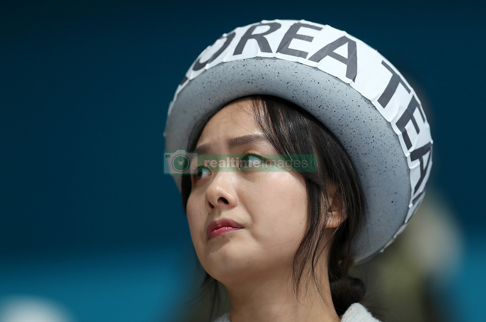 A South Korea fan in a hat at the Gangneung Curling Centre during day fourteen of the PyeongChang 2018 Winter Olympic Games in South Korea.
