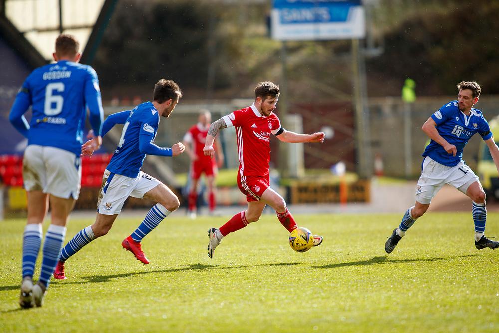 PERTH, SCOTLAND, APRIL, 2021: Callum Booth (St Johnstone Defender) Matty Kennedy (Aberdeen FC Midfielder) and Craig Bryson (St Johnstone Midfielder)<br /> during St Johnstone FC V Aberdeen FC Ladbrokes SPFL Premiership fixture at McDiarmid Park, on April 10, 2021 in Perth, Scotland.<br /> <br /> <br /> (Photo: Ross Johnston/Newsline Media)