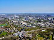 Nederland, Noord-Holland, Amsterdam; 17-04-2021; Amsterdam-Zuidoost en Duivendrecht. Venserpolder en Station Duivendrecht.<br /> <br /> luchtfoto (toeslag op standaard tarieven);<br /> aerial photo (additional fee required)<br /> copyright © 2021 foto/photo Siebe Swart